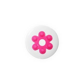 昭和な花はじき*濃いピンク Badges