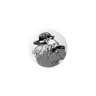 帽子をかぶり直す 缶バッジ
