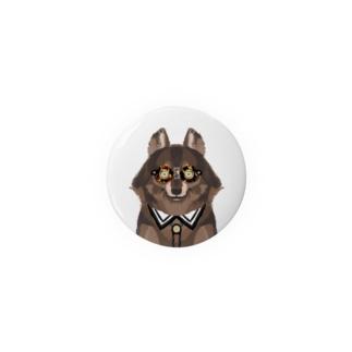 メガネをセロファンテープで貼り付けたオオカミ Badges