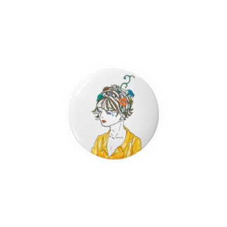 Flower blooms on the head. Badges