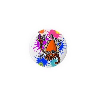 (釣りざんまい)エギに釣られるアオリイカ ビビットカラーバージョン Badges