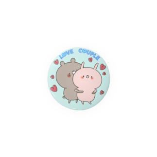ラブカップル好き好きくま44㎜ Badges