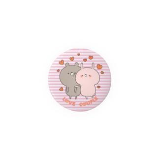 ラブカップルボーダーうさぎ44㎜ Badges