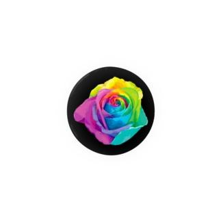 Rainbow rose(Single:Black) Badges