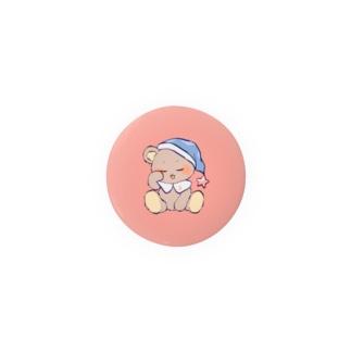 おねむなくま缶バッジ ピンク Badges