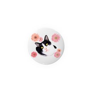 白黒猫ちゃんとガーベラ Badges