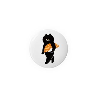 サーモンの握り寿司をかっこよく持ち運ぶ猫 Badges