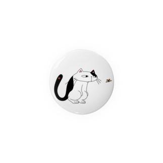 ネコとテントウ虫 (カラーVer./背景色なし) Badges
