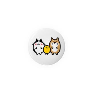 ネコとヒヨコとイヌの缶 44mm Badges