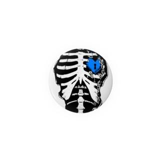 肋骨×南京錠(ブルー) Badges