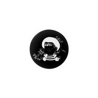 きゃちまいはー直筆イラスト(黒・44mm) Badges