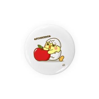 ひよこの「ぴよきち」缶バッジ(りんご) Badges
