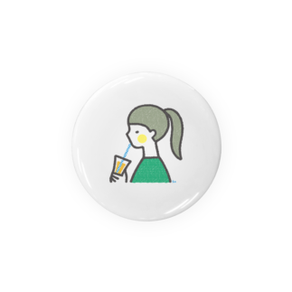 SAAYA'S SHOPのジュースを飲む女の子 Badges