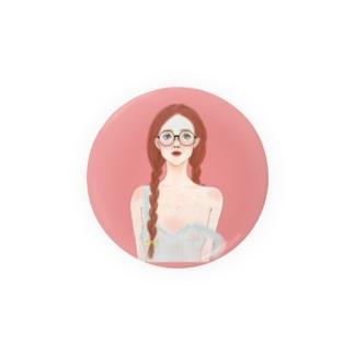 丸メガネの女の子 Badges