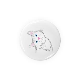 小首をかしげる可愛いネコ Badges