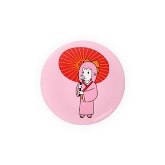 (56mm)お豚(とん)さん、和傘をさす。 Badge