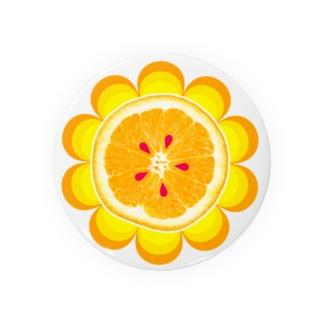 オレンジと花びら Badges