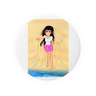 カラー黒髪女子浜辺 Badges