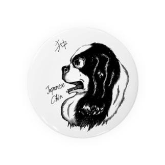 イケメン日本犬 狆 Badges