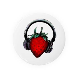 苺とヘッドフォン 缶バッジ