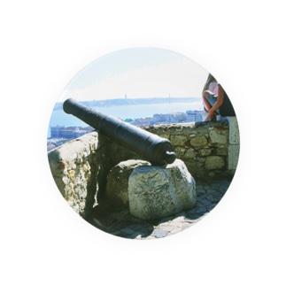 ポルトガル:サン・ジョルジェ城のカノン砲 Portugal: Canon gun at Castelo de São Jorge/ Lisboa (Lisbon) 缶バッジ