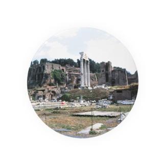 イタリア:フォロ・ロマーノのカストルとポルックス神殿が見える風景写真 Italy: view of Foro Romano (Tempio dei Dioscuri) Badges