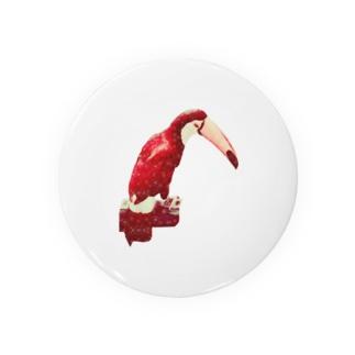 白い花柄の赤いオニオオハシ Badges