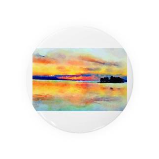 宍道湖の夕日 水彩 Badges