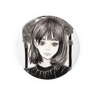 モノクロ少女と花 缶バッジ