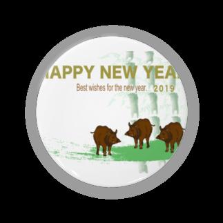 ジルトチッチのデザインボックスの2019亥年の猪のイラスト年賀状イノシシ Badges