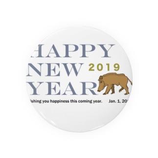 2019亥年の猪のイラスト年賀状イノシシ 缶バッジ