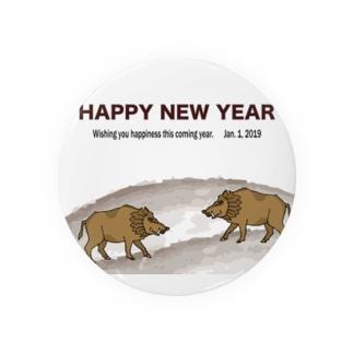 2019亥年の猪のイラスト年賀状イノシシ Badges