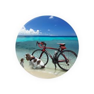 自転車で 缶バッジ