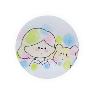 水玉のくまと女の子 Badges