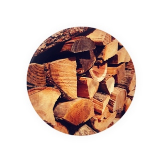 wood 缶バッジ