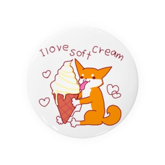 ソフトクリームと柴犬さん(赤柴) Badges
