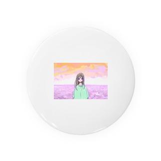 夕焼け海辺の女の子 Badges