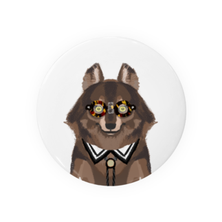 Sue visual storeのメガネをセロファンテープで貼り付けたオオカミ Badges