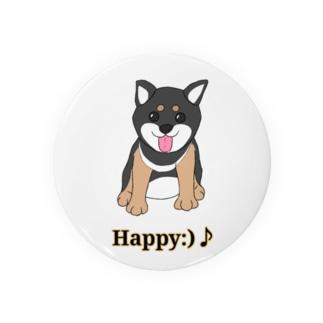 うるうる黒柴犬ちゃん 英語ロゴ Badges