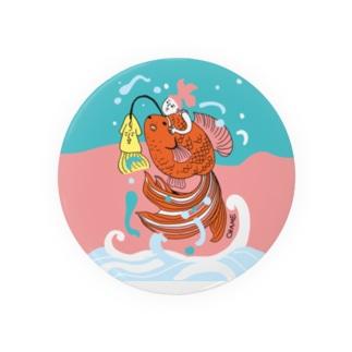 跳ね金魚(背景カラー) Badges
