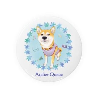 柴犬Ⅳ(花輪・青) Badges