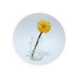 刺繍で作った黄色いお花 Badges