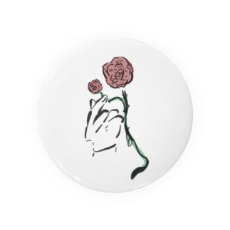 手とバラ Badges