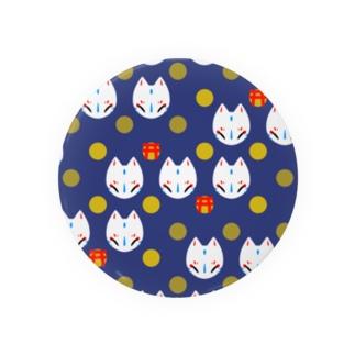 狐のお面(紺) Badges