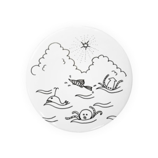 夏だねタコ、イカ、クジラ Badges