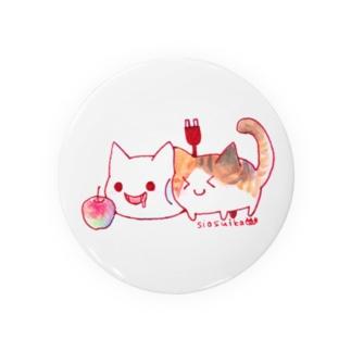 ねこさんと三毛猫とリンゴ Badges
