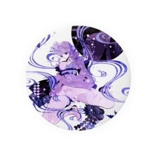 和柄 青の金魚姫3 藤紫 キモノガール Badges