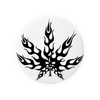 麻の葉 炎 トライバル 黒 Badges