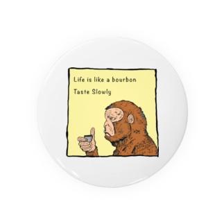 Drinking Monkey 酒飲みザルカラーver Badges