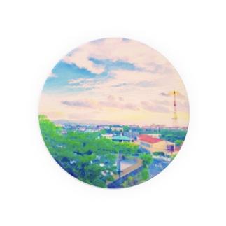カラーバス🎨🚌のあかるいゆうやけ Badges